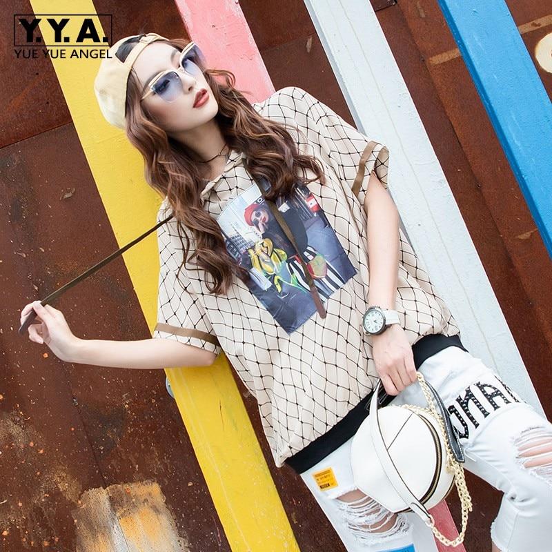 Harajuka femme caractère impression à capuche reliure corde mousseline de soie T-Shirt Plaid Patchwork pull Streetwear décontracté lâche vêtements haut