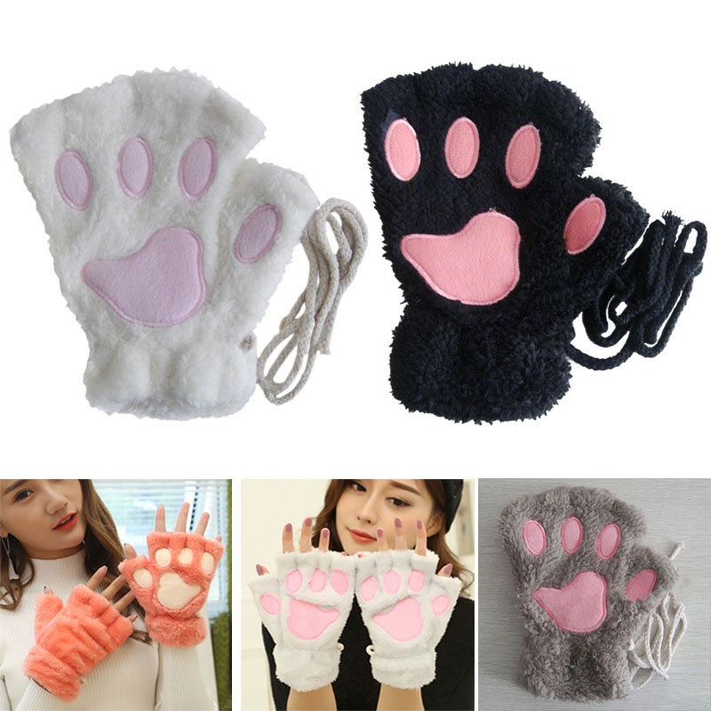 Hot Lovely Women Cat Claw Paw Mitten Plush Glove Costume Cute Winter Warm Half Finger Gloves Women Female Gloves Mitten Bracing Up The Whole System And Strengthening It Apparel Accessories