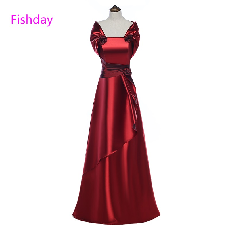 Fishday Evening Dress Satin Burgundy Flower Long Plus Size Elegant Formal Party Gowns for Women Mother of Bride With Jacket B45
