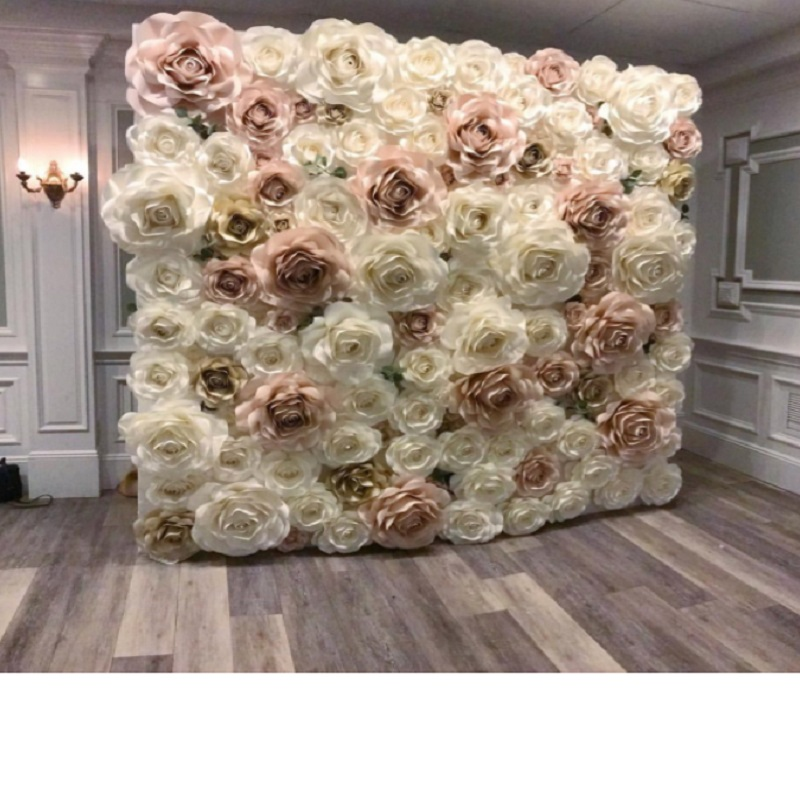 2018 Giant Paper Rose Aritificial Flowers For Wedding & Event Backdrop Decorations Decor 110PCS Mix Ivory Baby Pink Light Gold