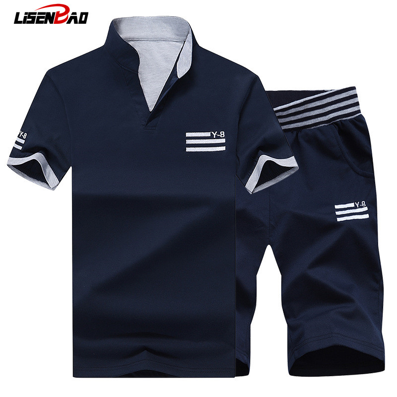 LiSENBAO Brand 2017 New Fashion Sportsuit and Men Casual Tee Shirt Set Mens T Shirt Shorts