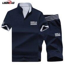 LiSENBAO Marke 2017 Neue Mode Sportsuit und Männer Casual T-shirt Set Herren T-shirt Shorts + Kurze Hosen Männer Sommer Trainingsanzug