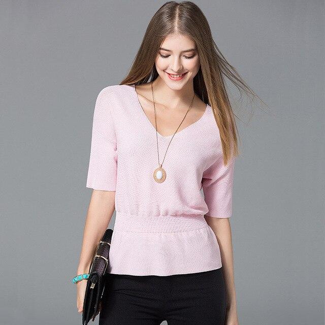 Весна тонкие пуловеры свитер женщин способа высокого качества чистый цвет V шеи короткие рукава сбор талии трикотажные женщина футболки E351