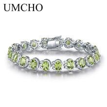 UMCHO 高級 18.9ct 天然ペリドット女性 925 スターリングシルバーチェーンリンクブレスレット結婚式の宝石ファインジュエリー