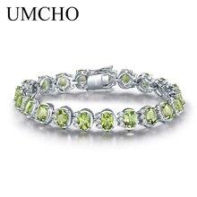 UMCHO Lüks 18.9ct Doğal Peridot Bilezikler Kadınlar Için 925 Ayar Gümüş Zincir Bağlantı bilezik Düğün Taş Güzel Takı