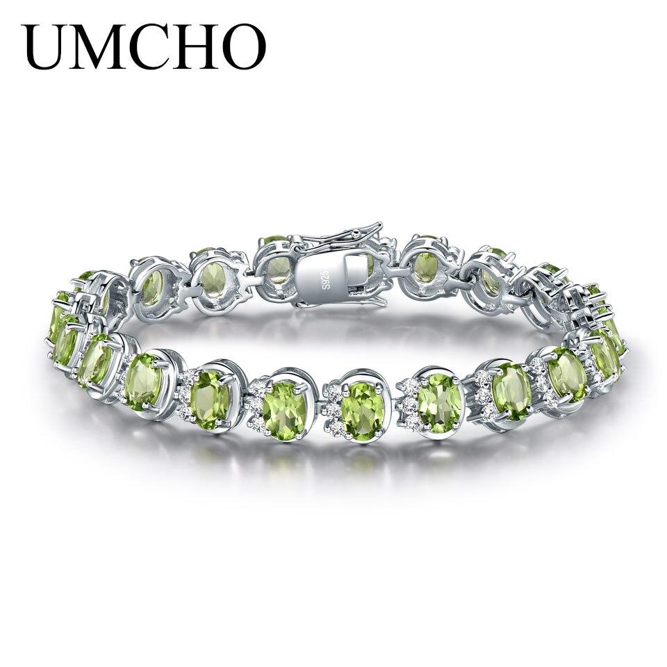 UMCHO Luxury 18.9ct Natural Peridot Bracelets For Women 925  Sterling Silver Chain Link bracelet Wedding Gemstone Fine  JewelryBracelets