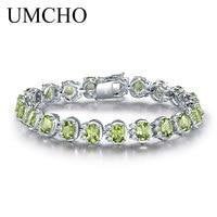 UMCHO Luxury 18.9ct Natural Peridot Bracelets For Women 925 Sterling Silver Chain Link bracelet Wedding Gemstone Fine Jewelry