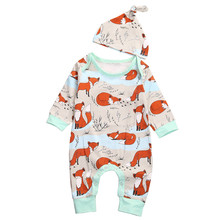 Bebé mameluco de la impresión del Fox sombrero bebé recién nacido Niño  manga larga romper otoño bebes jumpsuit 2017 nueva calien. 8f201744072