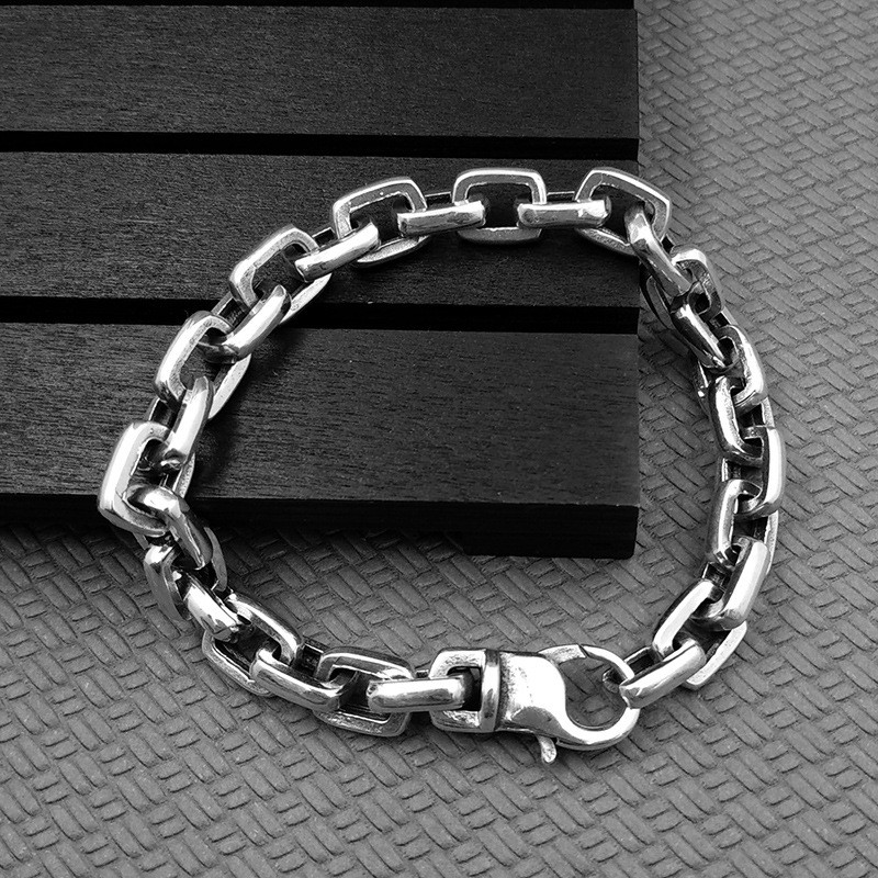 Solid Sterling Silver 925 Simple Thick Chain Bracelet For Men Bold Chunky Chain Cool Thai Silver Mens Jewelry Rock Star Bijoux solid silver 925 bold link chain necklace for mens 5mm thick chunky necklace simple style 100