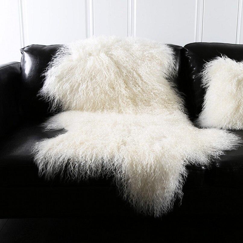 Натуральный белый монгольский овчина земли mat90 * 50 см Натуральная Тибет свободного кроя Форма ковер овчины, украшения меховой ковер