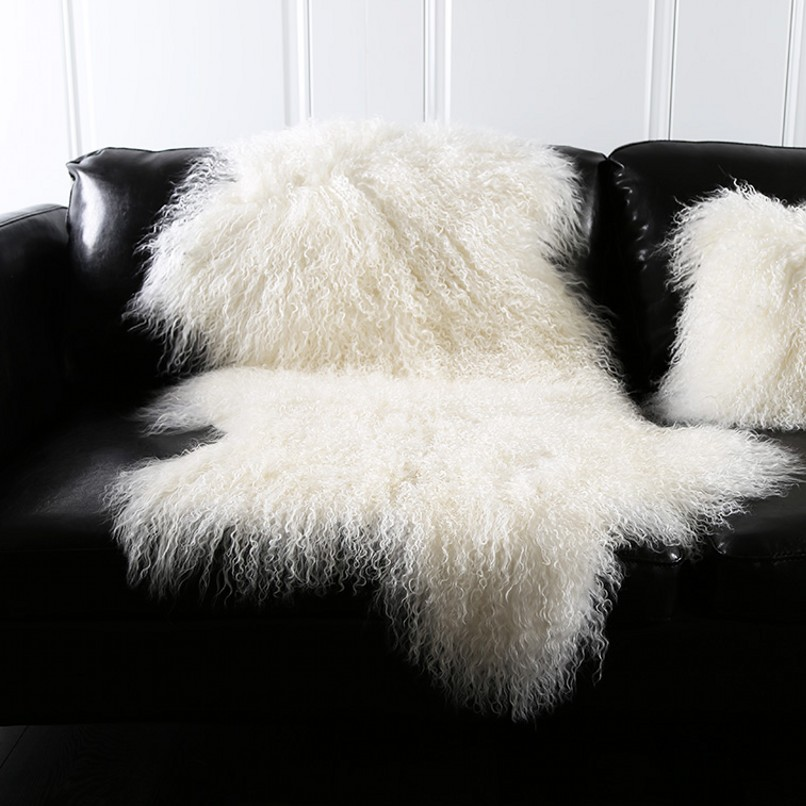 Natural beige white Mongolian sheep skin ground mat90*50cm genuine Tibet free cut shape sheepskin rug , decoration fur carpet