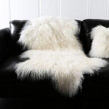 Natural White Mongolian Sheep Skin Ground Mat90*50cm Genuine Tibet Free Cut  Shape Sheepskin Rug