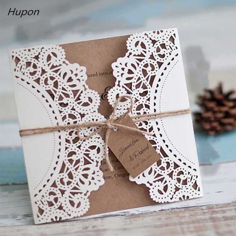 50pcs Laser Cut Wedding Invitations Card Kits with Envelopes Vintage Gift Greeting Cards Wedding Bridal Shower Party Supplies