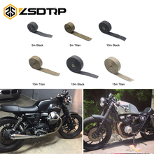 ZSDTRP 5cm*5M 10M 15M Motorcycle Exhaust Thermal Exhaust Tape Header Heat Wrap Resistant Downpipe For Motorcycle Car Accessories