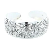 Tibet Silver Flower Bangle Bracelet 24mm Jewelry