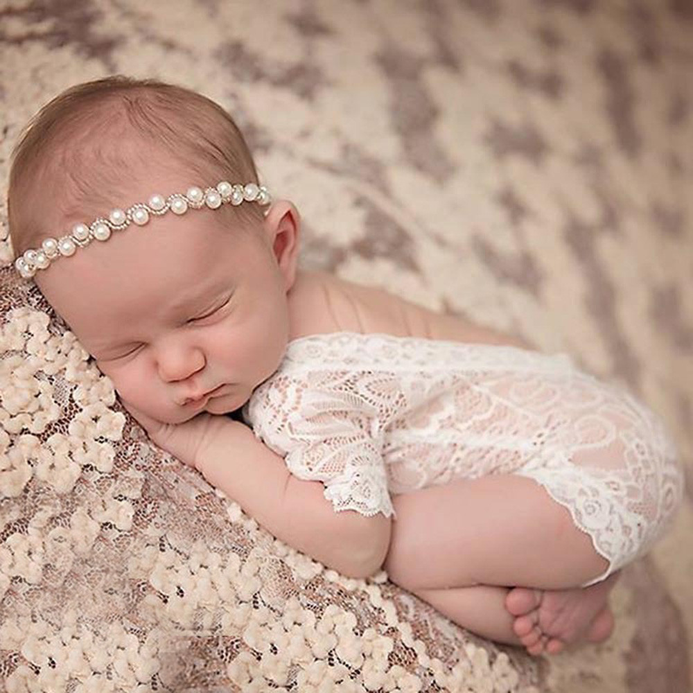 KLV Newborn Photography Props Baby Girl Lace Romper Infant Photo Shoot Clothes White Black V Cut Open Back Romper #25 newest newborn photography props baby romper studio photography accessories lace romper back tie girls outfit baby girl lace