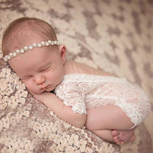 KLV Newborn Photography Props Baby Girl Lace Romper Infant Photo Shoot Clothes White Black V Cut Open Back Romper #25