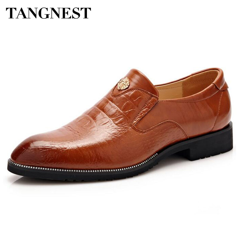 Tangnest Luxury Men Dress Shoes 2017 New Men Slip-on Oxfords Man Split Leather Business Flats Man Loafers Size 38~44 XMP556 men cow split leather shoes casual loafers soft and comfortable oxfords non slip flats luxury brand designer shoe zapatos hombre