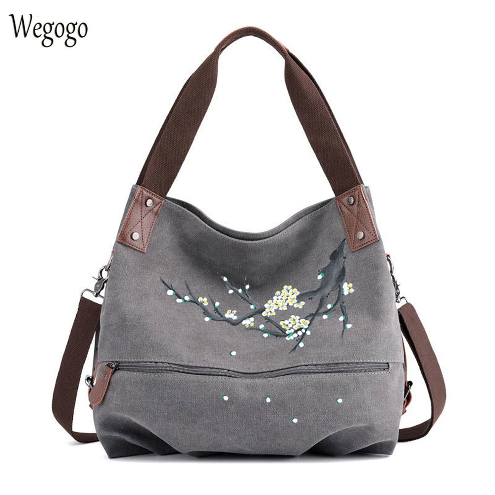 Womens Hand-painted Handbag Large Capacity Canvas Shoulder Bags Female Casual Ethnic Floral Painting Travel Bag Bolso MujerWomens Hand-painted Handbag Large Capacity Canvas Shoulder Bags Female Casual Ethnic Floral Painting Travel Bag Bolso Mujer