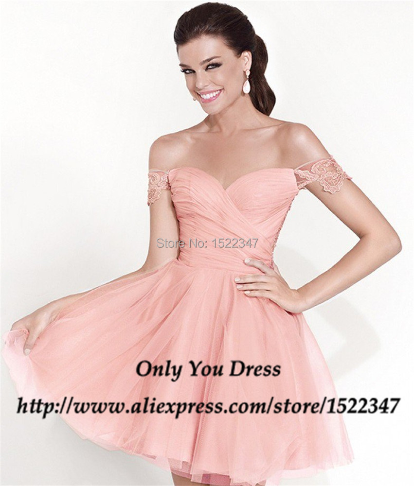Semi Formal Off the Shoulder Short Lace Cocktail Pink Homecoming ...