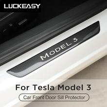 LUCKEASY Front door Sill Protector for Tesla Model 3 2017-2019 Car Stainless steel sill trim panel 2pcs/set