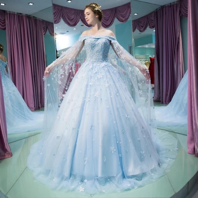 vestido noiva vintage Light Blue Wedding Gown robe de mariee ...