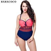 MOOSKINI Newest Plus Size Swimwear Women Bathing Suit Push Up Monokini Top Patchwork One Piece Swimsuit