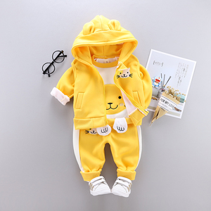 Image 2 - 3 sztuk dziecko dzieci odzież zimowa zestaw słodki kociak noworodka gruba ciepła bawełna ocieplane ubrania dla chłopców dziewcząt kamizelka z kapturem + topy + spodnie