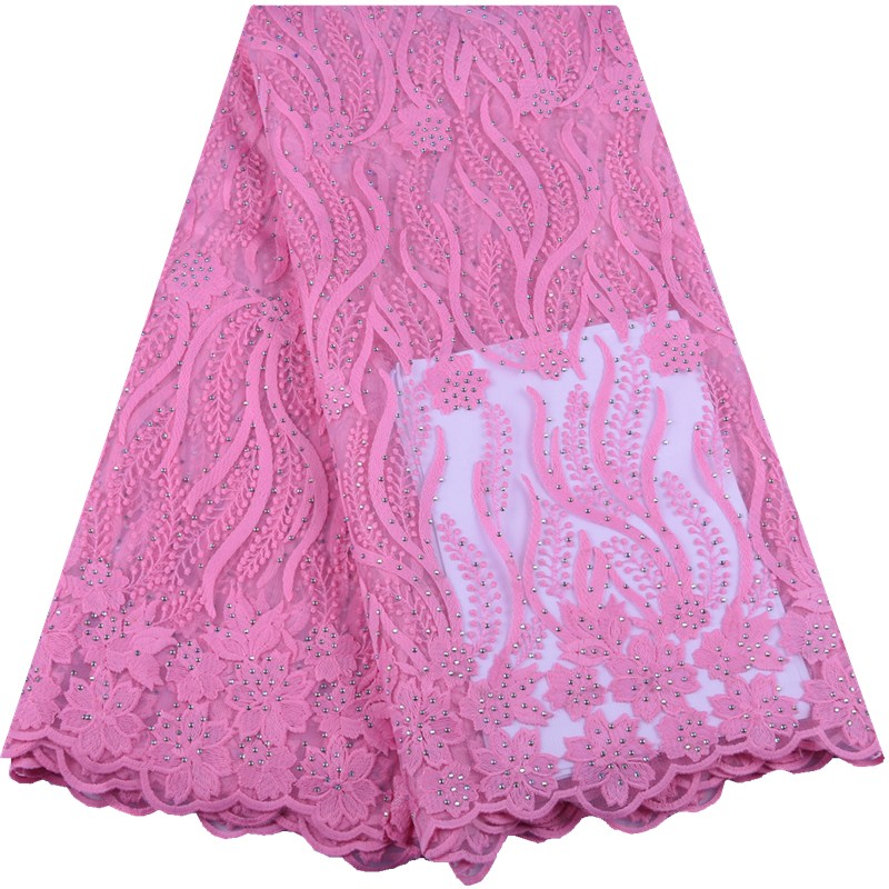Pink Nigerian Tulle Lace Fabric Fashion African Milk Silk Lace Fabric Embroidered French Lace With Stones