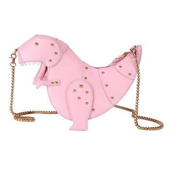 핑크 공룡 리벳 메신저 체인 숄더 가방 달콤한 귀여운 소녀 핑크 가방 수제 작은 품질 여행 가방 crossbody 가방