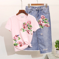 2019 Spring Summer Women Sets Beading Patch Flower Short Sleeve T shirts Holes Denim Skirts Casual Female Tops Denim Skirt Suits