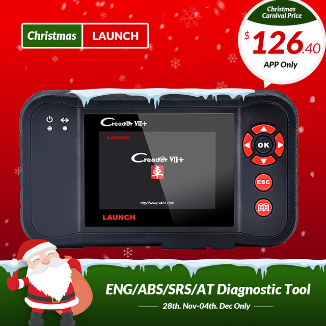 Big Sale Launch X431 Creader VII+ CRP123 Auto Code Reader OBD2 Scanner Scan Tool Test Engine/Transmission/ABS/ Airbag Creader 419 as gift