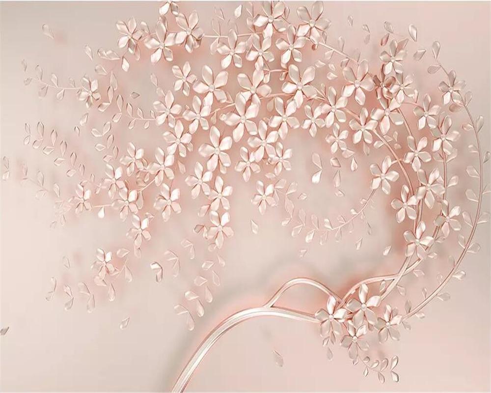 Beibehang 3d Wallpaper Rose Gold Flower Luxury 3d Stereo Tv