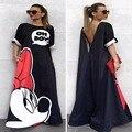 Микки минни мышь женщины мультфильм dress summer beach dress женский мики маус сексуальная vestidos одежда maxi dress N220