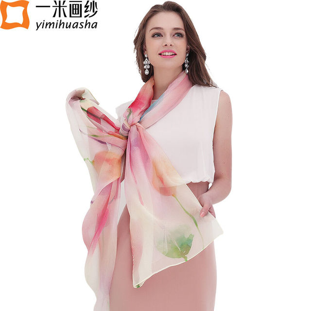 11.11 Colorful pretty butterfly and floral print real sheer silk shawl and scarves for women winter fashion trends accessories