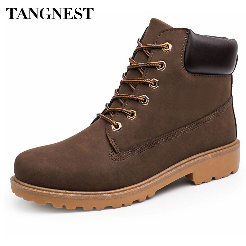 Tangnest Men Martin Boots 2017 Autumn New Ankle Boots British Style High Top Shoes Man Camouflage Flats Plus Size 39-46 XWX4234 new 2014spring autumn boots fashion martin boots leather motorcycle boots high top shoes for men british shoes free shipping