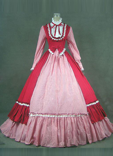 Pink And Red Long Sleeve Renaissance Victorian Ball Gowns