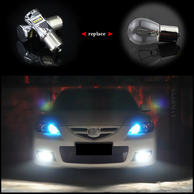 2x Led 1156 P21w BA15S DRL Lamp Canbus Error Free Daytime Running Lights  Bulb For VW Volkswagen Jetta MK6 Scirocco Sharan SEAT