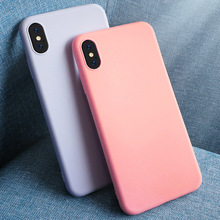 Shockproof Solid Color Silicone Couples Cases For iphone XR X XS Max 7 8 Plus Cute Candy Color Soft Simple Fashion Phone Case