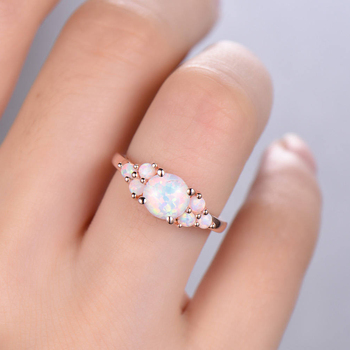 Natural 100% Oval Shape 8mm Austrialian Fire Opal Gemstone Ring in 14k Rose Gold with Gift Box For Women 4