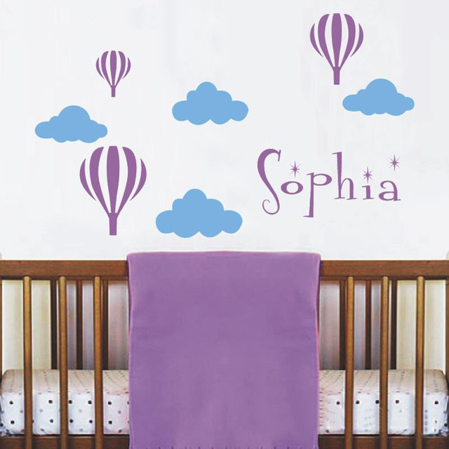 B14Personalized Name Kindergarten Wandtattoo Heißluftballons Wolken  Heißluftballon Nursery Wandtattoos Wandaufkleber Für Kinderzimmer
