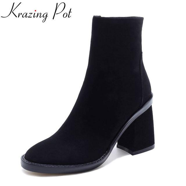 Krazing Nồi chính hãng thời trang da mùa đông giày ngón chân vòng cao gót xe gắn máy khởi động thời trang dạo phố sexy phụ nữ nhẹ-bê khởi động l22