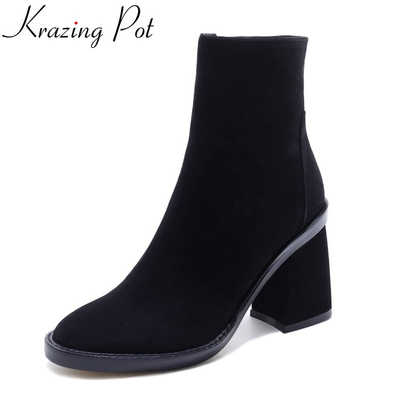 Krazing Pot genuine leather fashion winter shoes round toe high heels motorcycle boots streetwear sexy women mild-calf boots L22 krazing pot genuine leather 2018 round toe high heels metal fasteners motorcycle boots mature women round buckle ankle boots l26