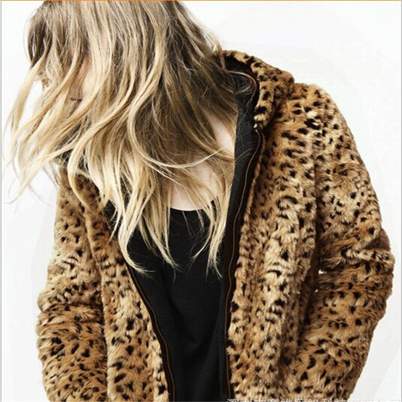 Taille Moyen Plus Sexy La Manteaux Femmes xxl Mode Veste 2017 D'hiver S Fourrure Leopard Manteau Fausse Léopard En Date Outwear long Y0d4w8