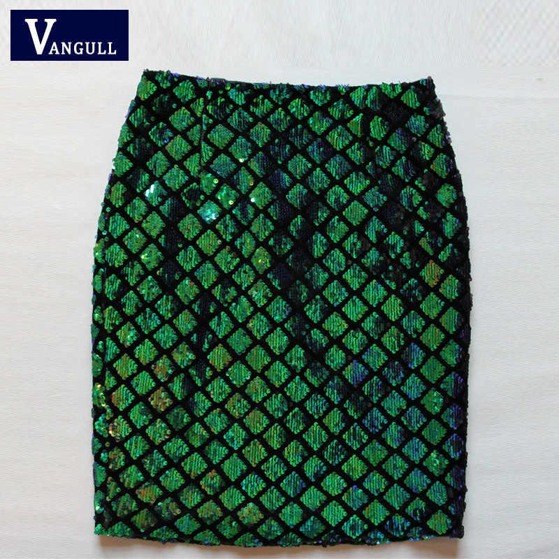 604ddaa89 ... Vangull Sequin Skirt Fish Scale Women Sexy Midi Club Pencil Skirts 2018  Summer Green Casual Iridescent ...