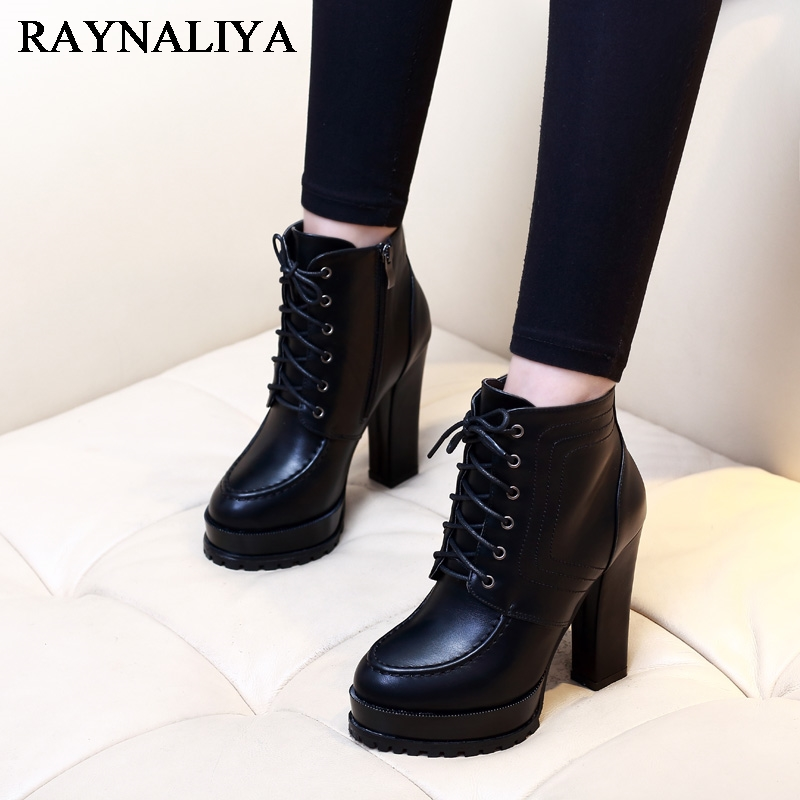 Women Sexy Ankle Boots New Winter Lace Up Solid Pumps Shoes Square Heels Shoes Woman Motorcycle Boots Black Size 35-39 CH-A0024