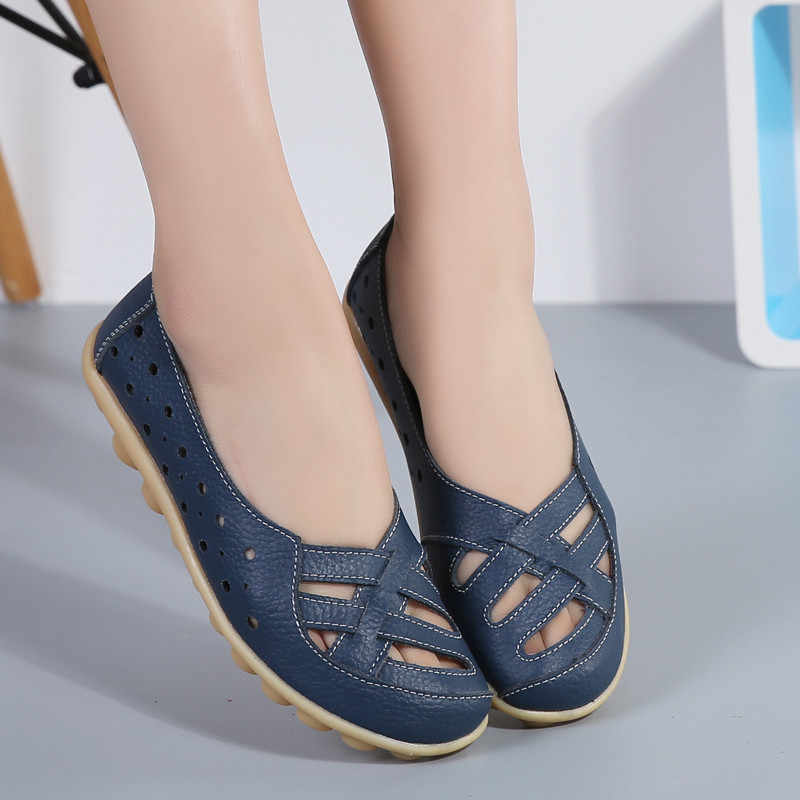 New women Casual Flat Shoes Woman Round Toe Ballet Flats loafers peas fashion hollow slip on Boats Soft Lazy Shoes Plus 38-44