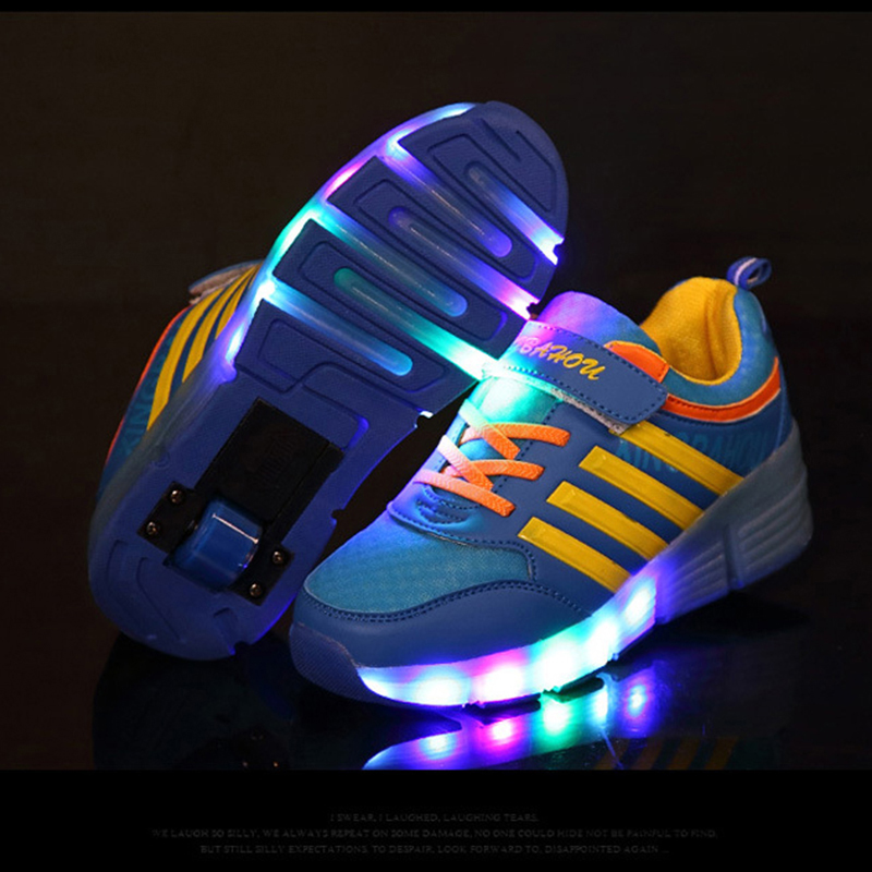 2019 Luminous Sneakers Kids Glowing Sneakers With Wheels Kids Roller Skates Shoes Led Light Up Shoes For Girls Boys Wing Shoes