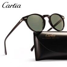 Carfia polarize Vintage güneş gözlüğü klasik marka tasarımcı Gregory Peck yuvarlak güneş gözlüğü erkek kadın güneş gözlüğü 100% UV400 5288