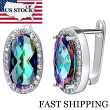USA STOCK Uloveido Big Mystic Stud Earrings for Women Brincos Fashion Jewelry Bijoux with Stones Multicolor Earrings 50% R766